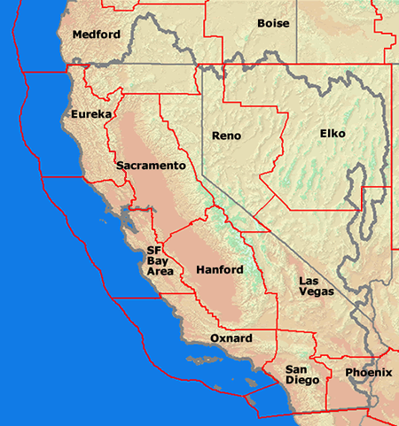 Figure 2 - Map of NWS Forecast Offices in the CNRFC Area of Responsibility