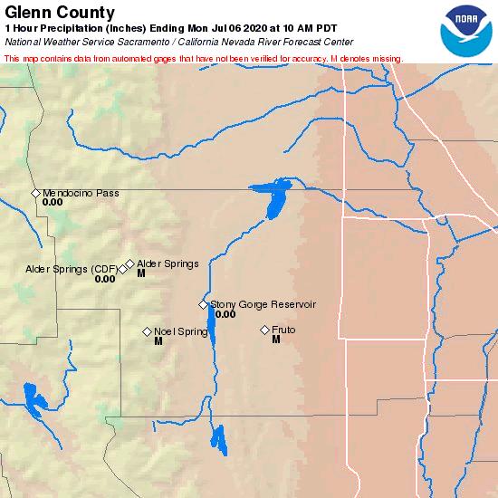 Glenn County California Map.Cnrfc Hydrology Observed Precipitation Past 1 Hour Glenn County