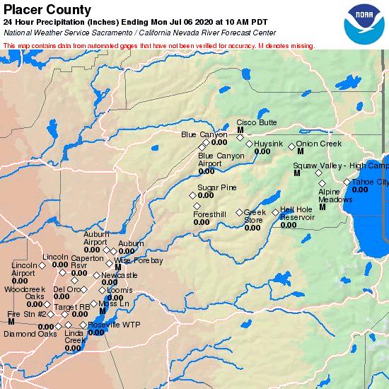 CNRFC - Hydrology - Observed Precipitation - Past 24 Hours - Placer ...