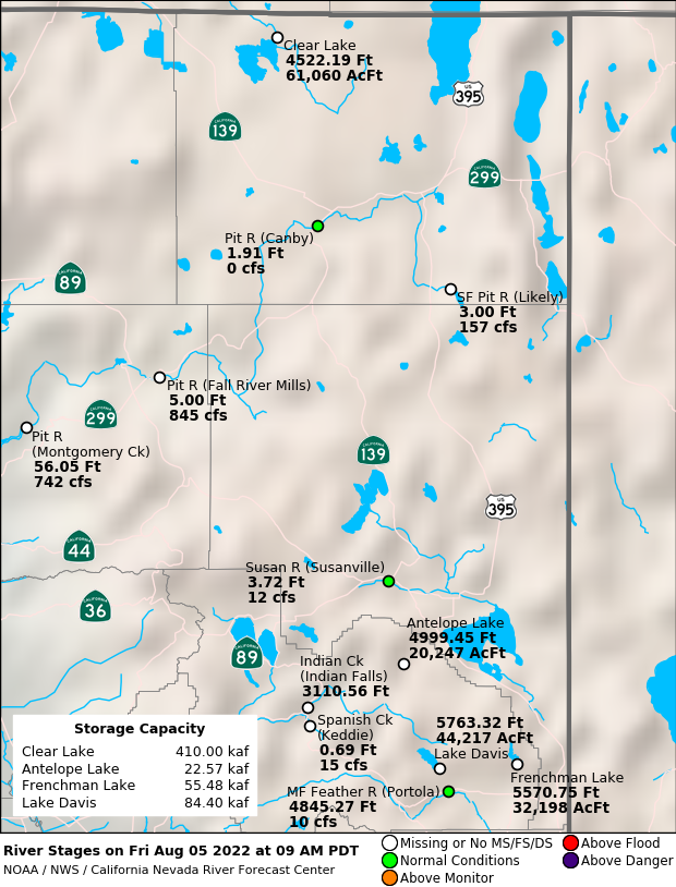 Observed River/Reservoir Map