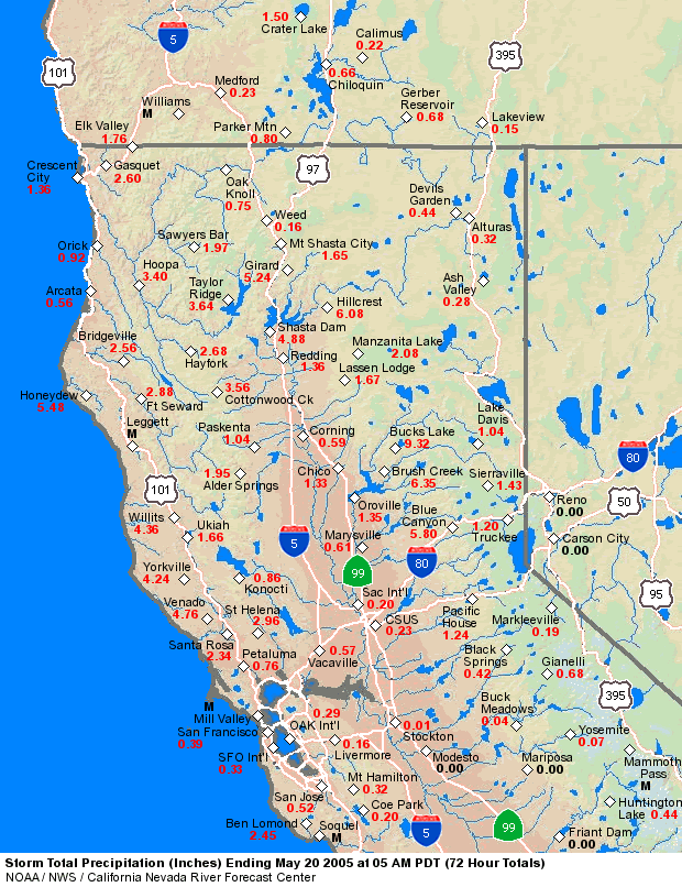 Map Of Northern California And Oregon CNRFC   Storm Summaries   May 17 19, 2005