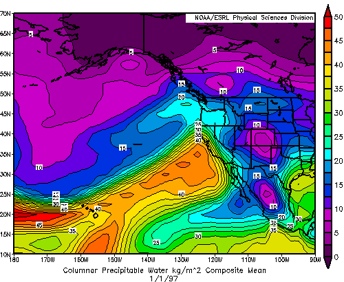 Composite Mean Precipitable Water for January 01, 1997
